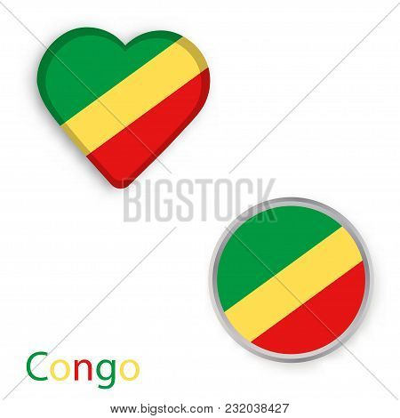 Heart And Circle Symbols With Flag Of Republic Of The Congo. Vector Illustration