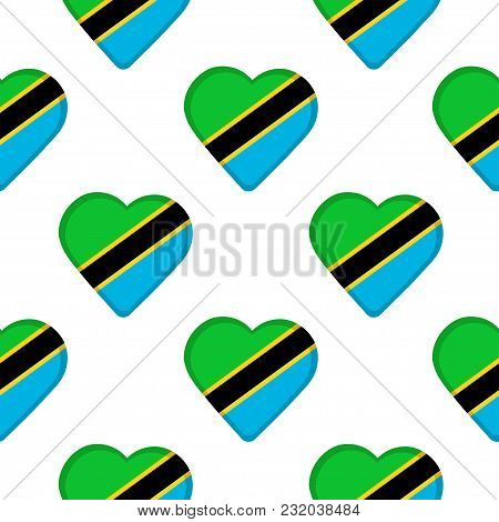 Seamless Pattern From The Hearts With Flag Of United Republic Of Tanzania. Vector Illustration