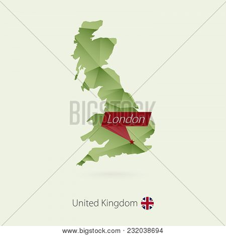 Green Gradient Low Poly Map Of United Kingdom With Capital London
