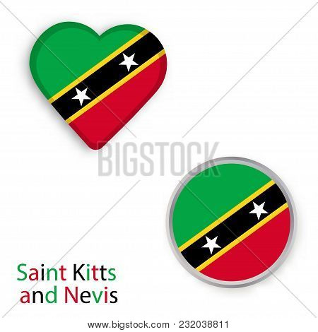 Heart And Circle Symbols With Flag Of Saint Kitts And Nevis. Vector Illustration