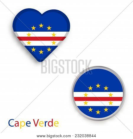 Heart And Circle Symbols With Flag Of Republic Of Cabo Verde. Vector Illustration