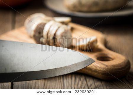 Sliced Tasty White Sausage.