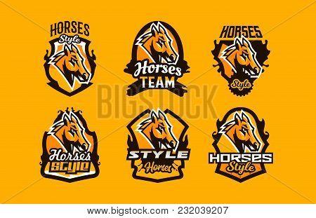 Colorful Set Of Logos, Icons, Emblems, Horse Head. Stallion, Animal, Pony, Sports Club, Shield, Lett