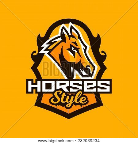Colorful Emblem, Badge, Logo, Horse Head. Stallion, Animal, Pony, Sports Club, Shield, Lettering. Ve