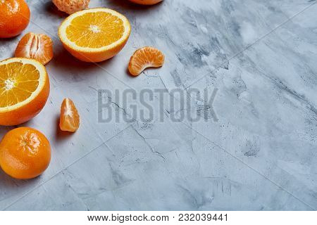 Variety Of Fresh Citrus For Making Juice Or Smoothie Over Light Textured Background, Topview, Select