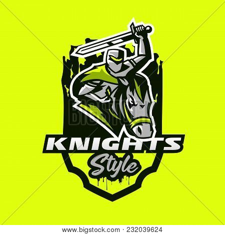 Colorful Emblem, Logo, Badge Of A Knight Riding On A Horse And Waving With A Sword. Swordsman, Soldi