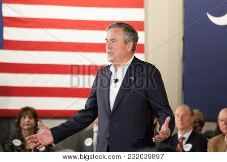 BEAUFORT, SOUTH CAROLINA-FEBRUARY 17, 2016: Presidential hopeful Jeb Bush speaks at a town hall meeting in Beaufort, South Carolina before the presidential primary.