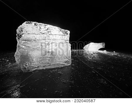 Cut Ice. Crushed Cubes Lighted With Strong Backlight.  Silent Bay  With Flat Frozen Level.  The Ligh
