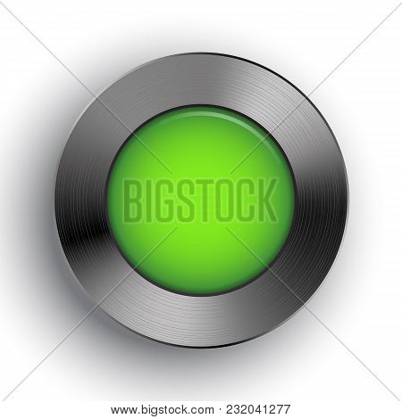 Green Button Template On Metal Texture For User Interfaces, Ui, Applications And App. Chrome, Silver