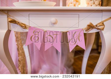 Pink Flags With The Name Eva. Decoration