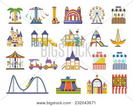 Children S Amusement Outdoor Park, With Attractions, Carousels, Roller, Fun Entertainments, Counters