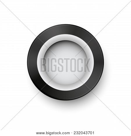 Retro Car Wheel Template With White Stripe And Realistic Shadow. Vintage Tire Concept Vector Illustr