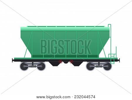 Railway Wagon, With A Variety Of Cargo In The Form Of Coal, Products, Minerals. Railway Locomotive,