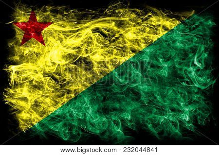 Acre Smoke Flag, State Of Brazil, On A Black Background