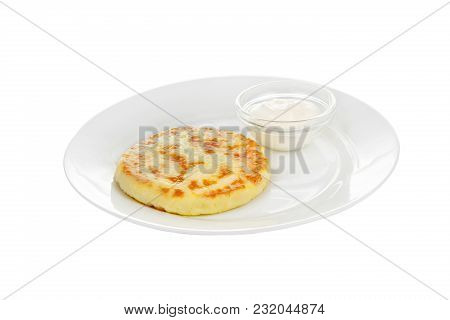 Cheese Pancake On A White Plate With Sour Cream Isolated White Background. Dessert, Snack, Healthy L