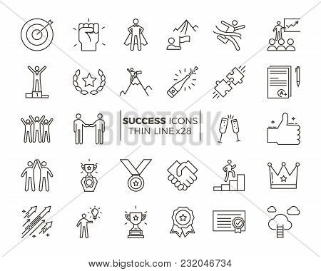 Icons Related With Success, Motivation, Willpower, Leadership, Determination And Growth. Vector Pict