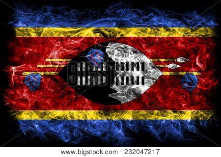 Swaziland Smoke Flag On A Black Background