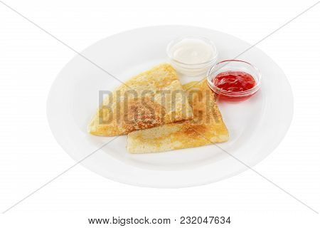 Two Pancakes Triangle With Berry Jam And Sour Cream, Isolated White Background On A Plate. Dessert F