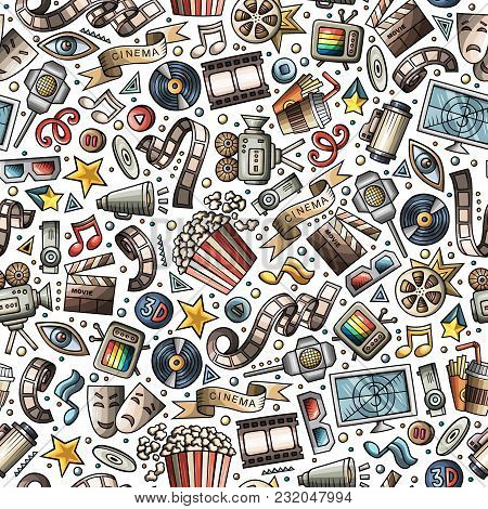 Cartoon Cute Hand Drawn Cinema Seamless Pattern. Colorful Detailed, With Lots Of Objects Background.