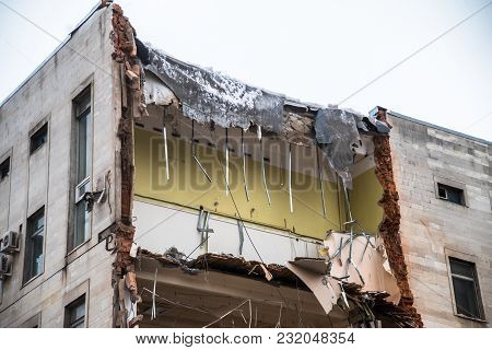 Demolition Of A Building With Floors Fragment