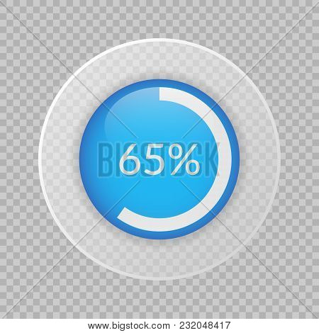 65 Percent Pie Chart On Transparent Background. Percentage Vector Infographics. Circle Diagram Isola