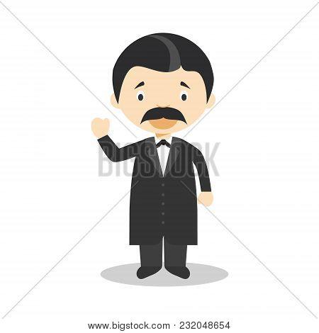 Friedrich Nietzsche Cartoon Character. Vector Illustration. Kids History Collection.