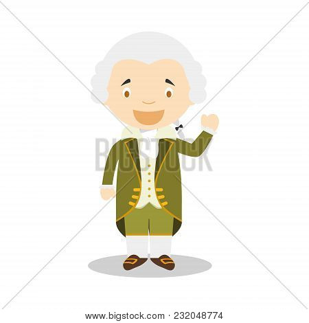 Immanuel Kant Cartoon Character. Vector Illustration. Kids History Collection.