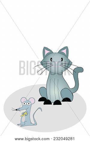 Illustrated Cartoon Cat And Mouse Holding Wedge Of Cheese On Grey Rug On White With Copy Space.