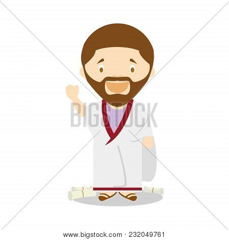 Plato Cartoon Character. Vector Illustration. Kids History Collection.