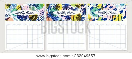 Vector Illustration, Monthly Planner Design Template With Colorful Header With Tropical Leaves Patte
