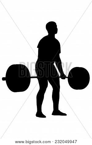 Real Athlete Powerlifter Exercise Deadlift Black Silhouette