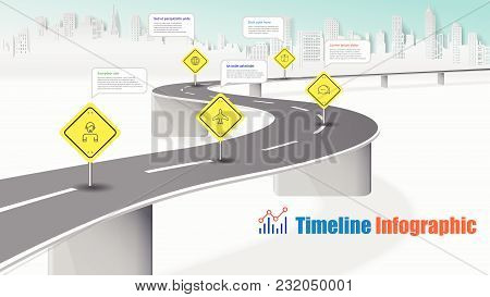 Business Road Map Timeline Infographic Expressway Concepts Designed For Abstract Background Template