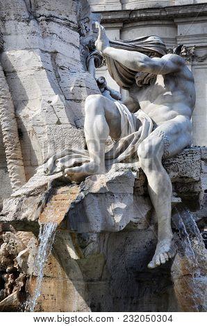 Public Fountain Statue In Piazza Navona, Rome