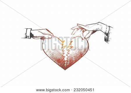 Broken Heart Concept. Hand Drawn Man And A Woman Holding Two Half Of Broken Heart. Crisis Relationsh