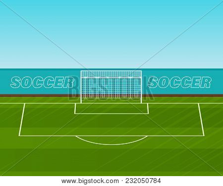 Football Soccer Gate With Grid On A Green Sports Lawn, Realistic Playing Field Of Stadium, Arenas, F