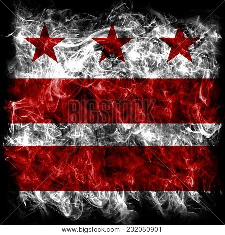 Washington D.c City Smoke Flag, Maryland And Virginia State, United States Of America