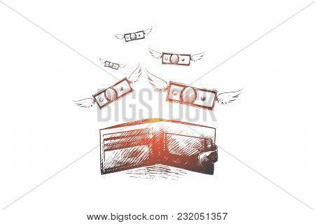Spend Money Concept. Hand Drawn Money Fly Out Of The Bag. Wallet With Money Fly Away Isolated Vector