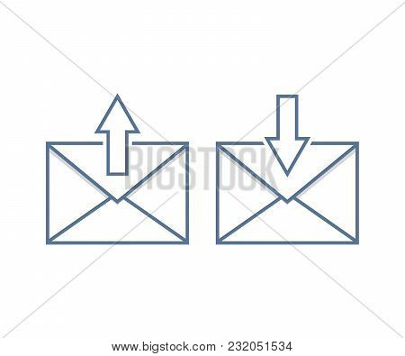 Send And Receive Email Icons. Vector Illustration Set