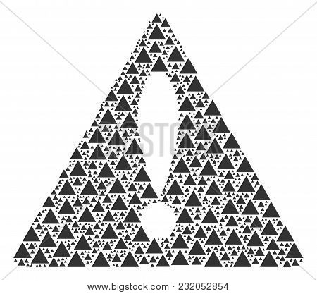 Fail Symbol Pattern Done Of Filled Triangle Elements. Vector Filled Triangle Pictograms Are Organize