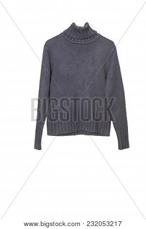 Warm Woolen Sweater Under The Throat, Isolated On White Background. Photo On The Crossbar And Should