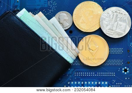 A Black Leather Wallet With Euro And Dollar Banknotes And Coins Of Cryptocurrency Ethereum, Bitcoin