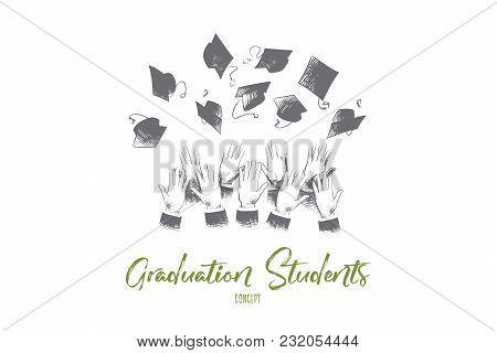 Graduation Students Concept. Hand Drawn Hands Of Students Throwing Graduation Hats In Air. Graduatio