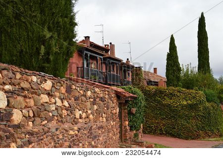 Picturesque Village With Its Black Slate Roofs In Madriguera. Architecture Vacation Travel Rural Lif