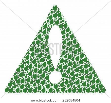 Warning Sign Pattern Created Of Plant Leaf Pictograms. Vector Plant Leaf Pictograms Are United Into