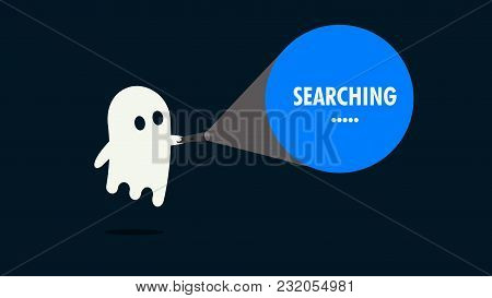 Ghost Searching For Something With His Flashlight. Vector Illustration Concept