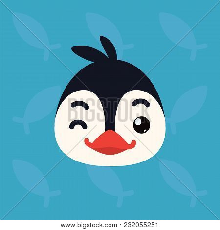 Penguin Emotional Head. Vector Illustration Of Cute Arctic Bird Shows Playful Emotion. Blinking Emoj