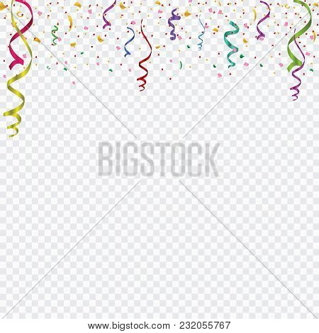 Colored Confetti Isolated On A Cellular Background. Festive Vector Illustration.