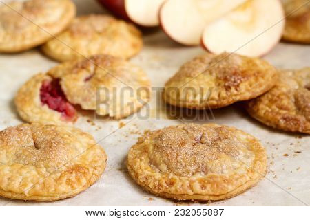 Crispy Mini Pies With Apple And Red Currant. Rustic Style, Selective Focus.