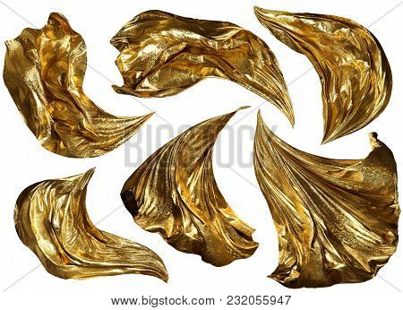 Golden Fabric Flying On Wind, Flowing Waving Gold Shine Cloth, Sparkling Clothes Drapes Piece, Isola