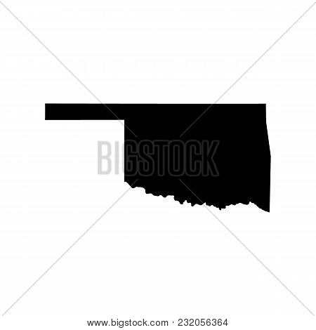 Map Of The U.s. State Of Oklahoma On White Background